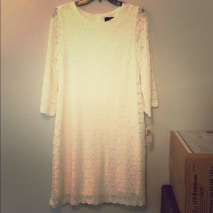Off white Lacey mid length dress NWT